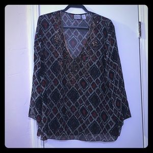 CHICOS SHEER LONG SLEEVE TOP WITH BLING AT V-NECK